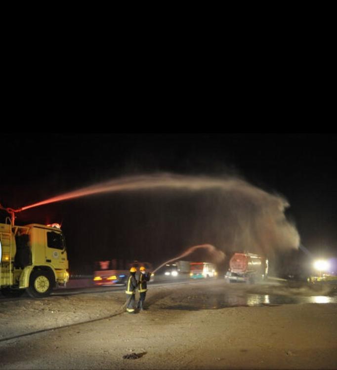 تسرب ( كيماويات) من  شاحنة يستنفر الجهات الامنية بالطائف