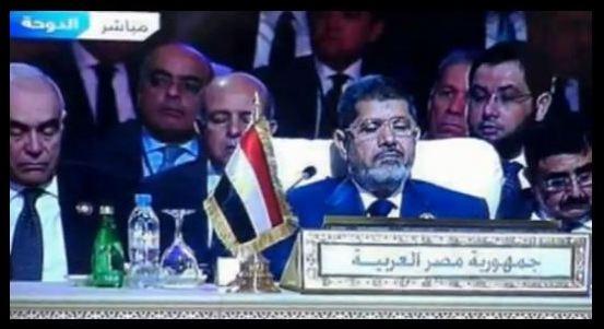 """بالفيديو.. الوفد المصري """"نائماً"""" في قمة الدوحة"""