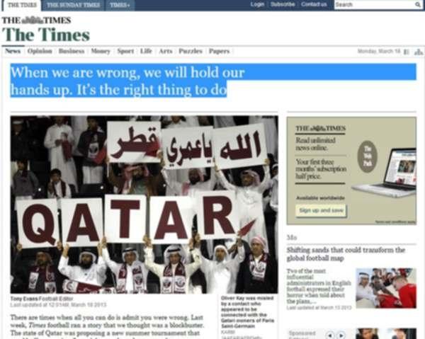 التايمز البريطانية تصف قصة دوري الأحلام التي قالت أن قطر ستدشنه بالكابوس الصحفي