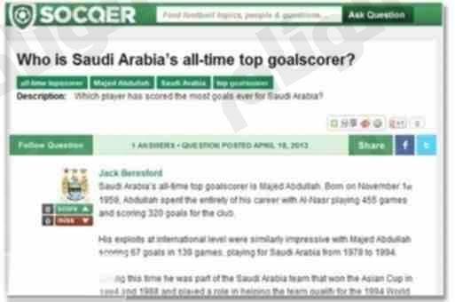 موقع عالمي : ماجد عبد الله الهداف الأفضل في تاريخ السعودية