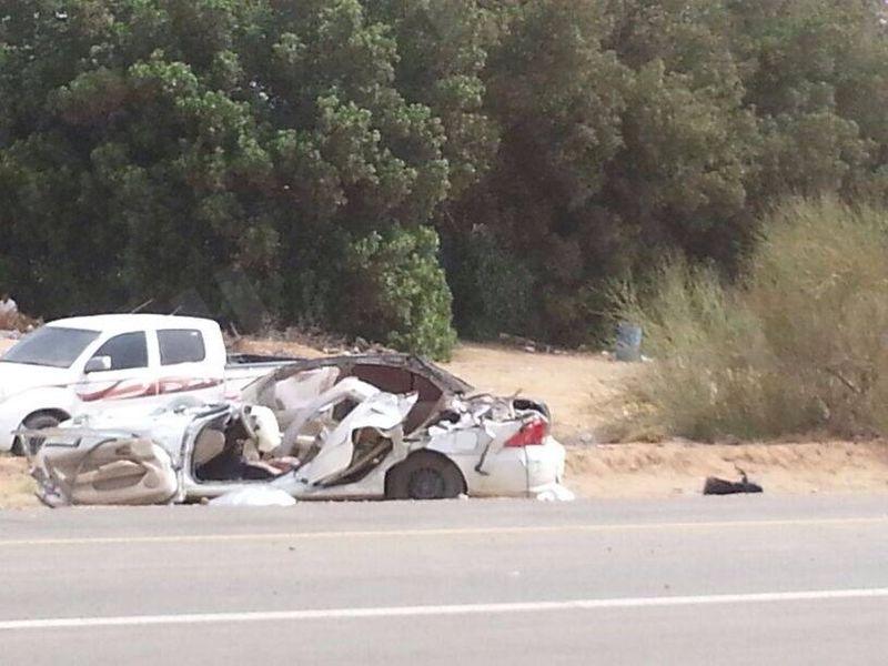 حادث مرورى يقتل ويصيب سبعة أشخاص علي طريق جازان-المضايا