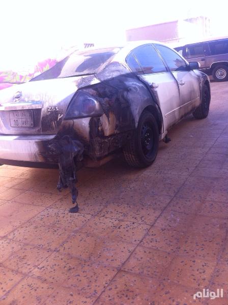 مجهولون يشعلون النار في سيارة رجل أمن بالعويقيلة