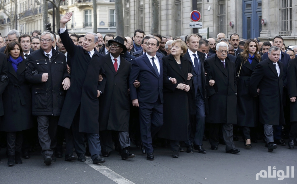 Heads of state attend the solidarity march in the streets of Paris