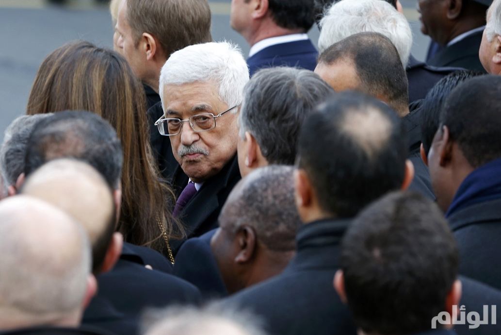 Palestinian President Mahmoud Abbas takes part with dozens of foreign leaders in a solidarity march (Marche Republicaine) in the streets of Paris