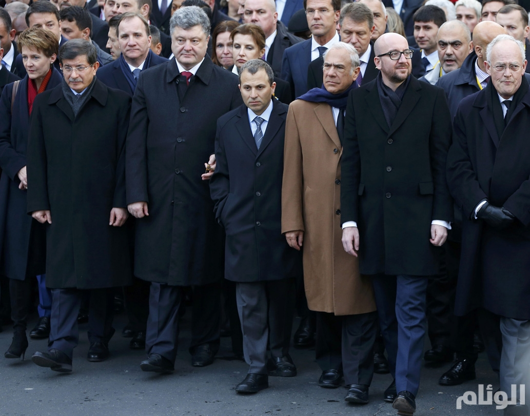 Heads of state attend a solidarity march (Marche Republicaine) in the streets of Paris