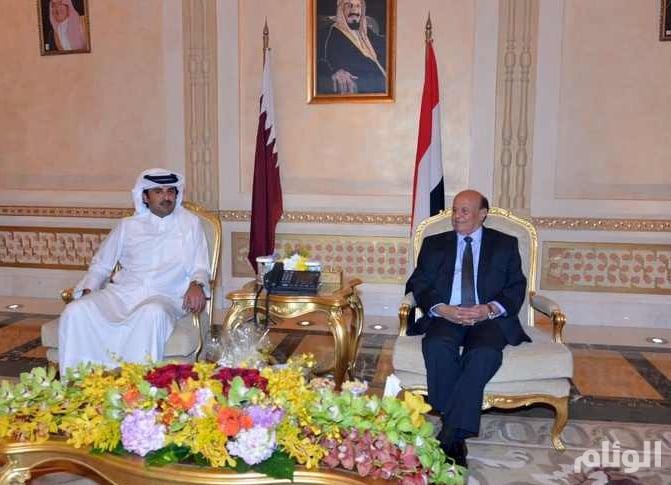 أمير قطر التقي الرئيس اليمني في الرياض