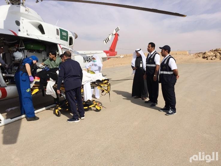 الإسعاف الجوي ينقل مصابة حادث من قبة إلى تخصصي بريدة