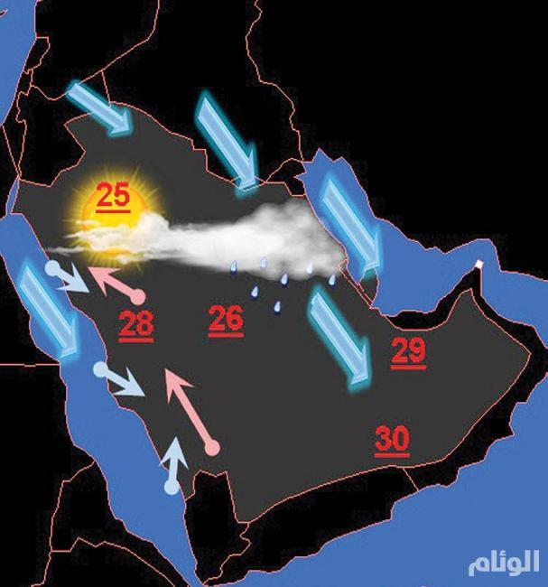 حالة مطرية تعبر أجواء السعودية نهاية الأسبوع