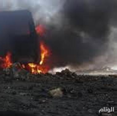 احتراق آلية تابعة للحرس الوطني بطريق الرياض-القصيم