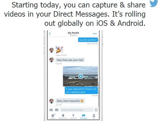 تويتر يتيح تسجيل وإرسال مقاطع الفيديو عبر الرسائل الخاصة