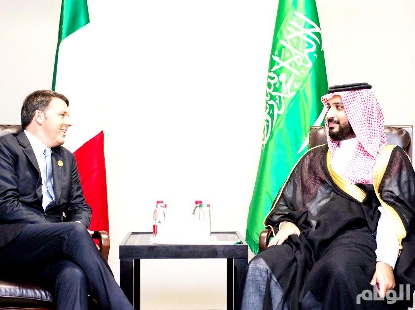 ولي ولي العهد يبحث التعاون الثنائي مع رئيس وزراء ايطاليا