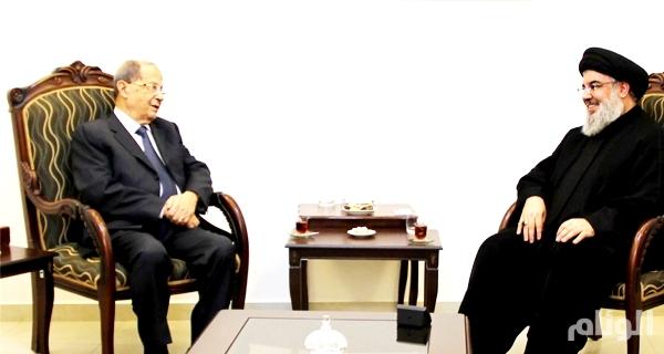 لبنان: نصر الله مستقبلاً عون «أهلاً فخامة الرئيس» والعماد.. شكرًا على التسهيلات