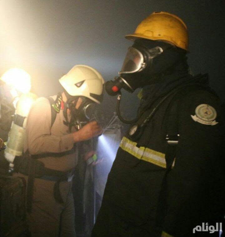 إصابة ٧ أشخاص في حريق شقة المعيصم بمكة