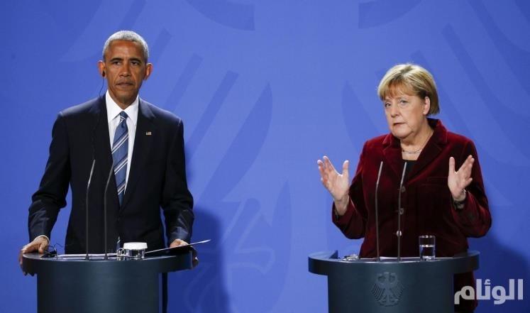 ميركل: أوباما وزعماء أوروبا لم يناقشوا فرض عقوبات على روسيا بسبب سوريا