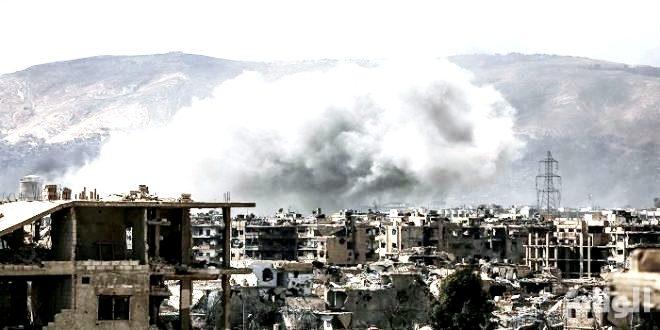 تدمير مبنى السفارة الروسية واستمرار المعارك على أطراف دمشق