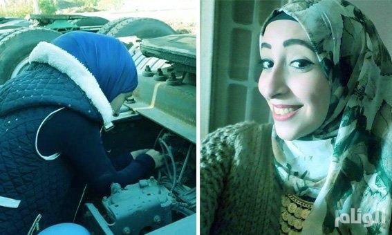 بالصور..فتاة مصرية ترفض خلع الحجاب وتتوجه للعمل بمهنة كهربائي سيارات