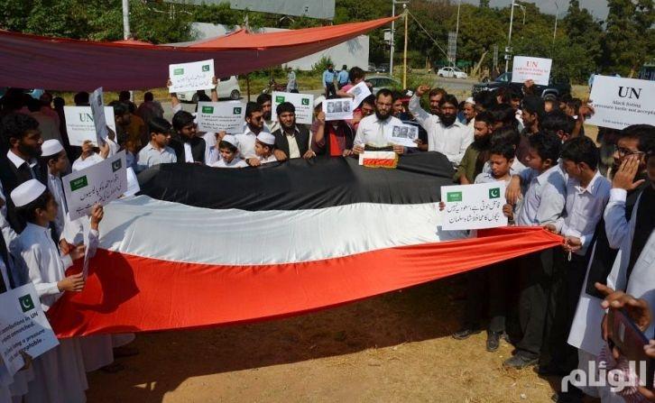 شاهد: وقفة احتجاجية في باكستان ضد تقرير الأمم المتحدة عن اليمن