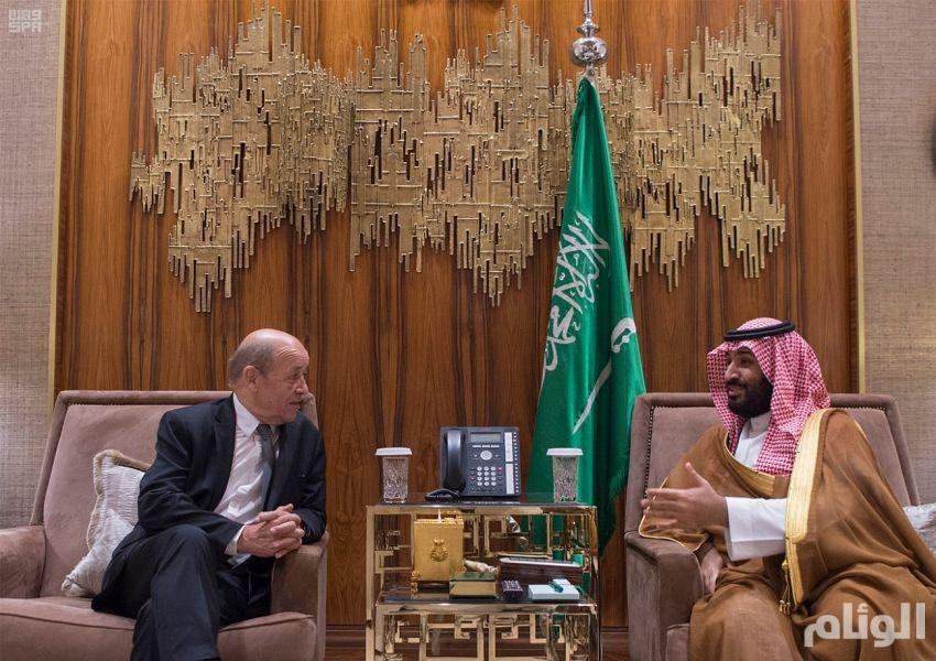 ولي العهد يجتمع بوزير الخارجية الفرنسي ويبحثان آفاق التعاون الثنائي وتطورات الأحداث في الشرق الأوسط