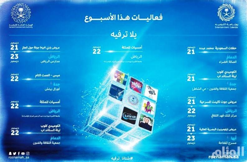 هيئة الترفيه: محمد عبده وأمسيات المملكة أبرز فعاليات الأسبوع الثالث من ديسمبر