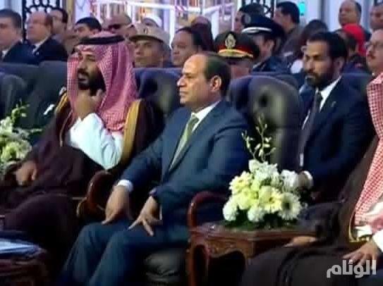 ولي العهد والسيسي يتفقدان مشروعات كبرى بمحور قناة السويس