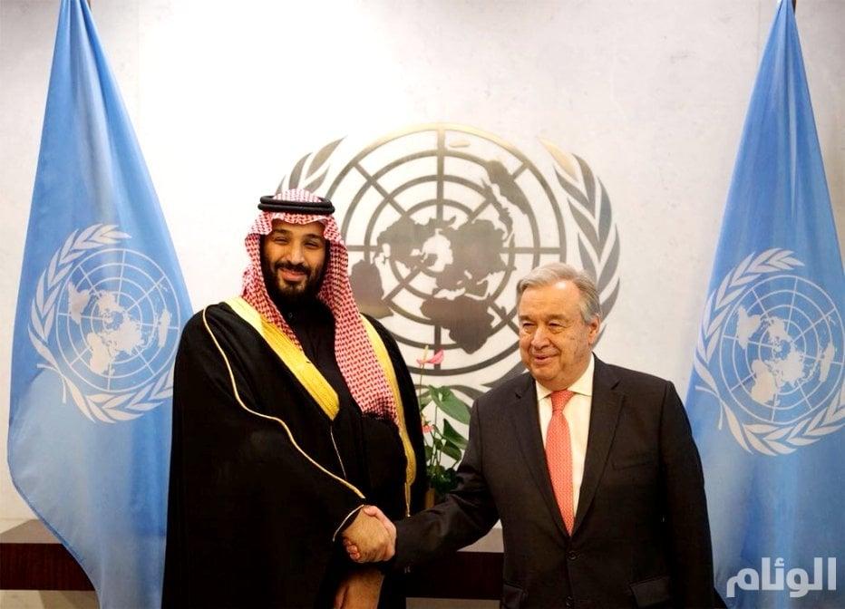 ولي العهد يبحث التطورات مع أمين عام الأمم المتحدة