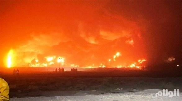 الكويت: اندلاع حريق بعد تسرب نفطي بأحد الآبار
