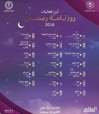«الترفيه» تعلن عن أكثر من 20 فعالية في «روزنامة رمضان»