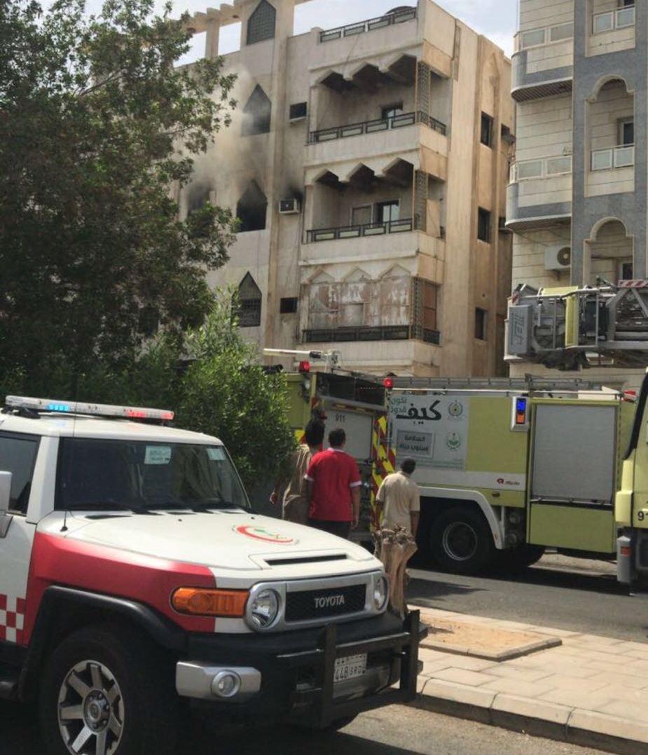 إختناقات وحالات سقوط بحريق شقة سكنية بجدة