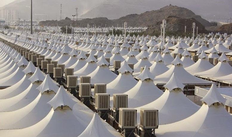 """تغطية 2000 خيمة بـ""""الجبس بورد"""" ومكيفات سبليت فريون بمشعر منى"""