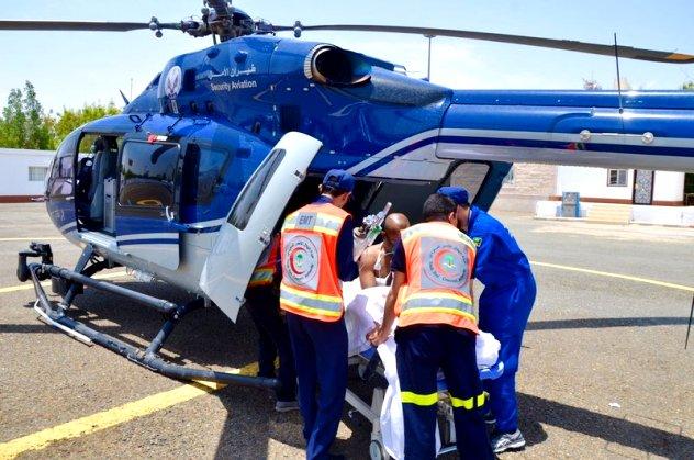 شاهد: الهلال الأحمر ينقل 39 حالة عبر الاسعاف الجوي