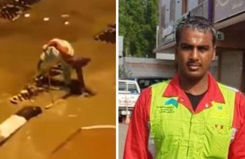 تكريم عامل نظافة خاطر بالعمل وسط سيول مكة