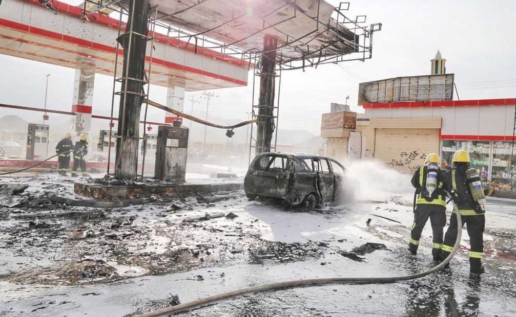 السيطرة على حريق اندلع في محطة وقود بالعاصمة المقدسة