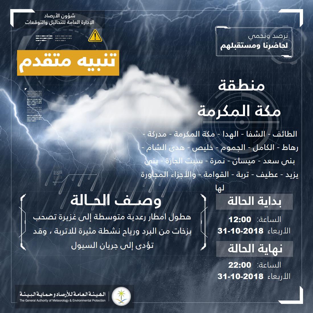تنبيه متقدم بهطول أمطار غزيرة على منطقة مكة المكرمة