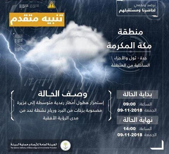 تنبيه متقدم لهطول أمطار على محافظة جدة