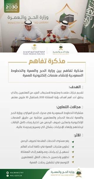 مذكرة تفاهم بين وزارة الحج والعمرة والخطوط السعودية لإنشاء منصات إلكترونية للعمرة