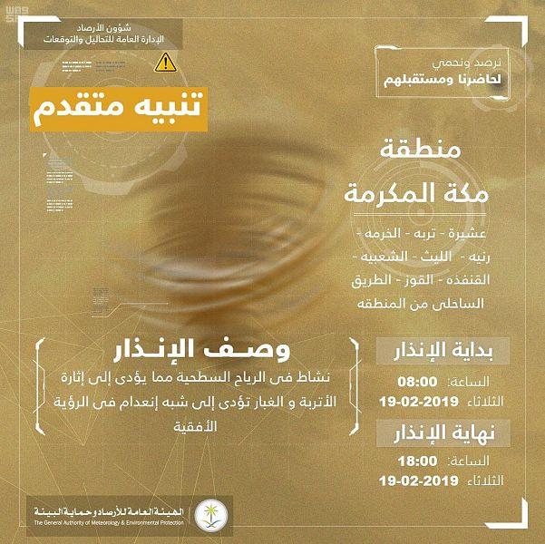 """""""الأرصاد"""": رياح سطحية تؤدي لانعدام الرؤية الأفقية على منطقة مكة المكرمة"""