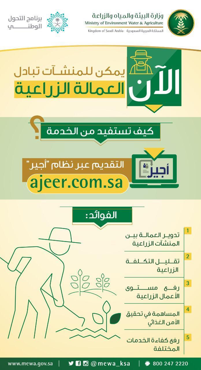 """""""البيئة"""" تعلن البدء في تقديم خدمات العمالة للمنشآت الزراعية عبر برنامج """"أجير"""""""