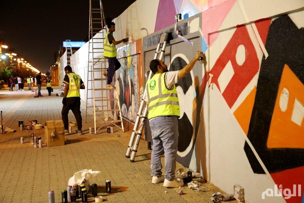 المواهب الوطنية «تجمّل» جداريات الرياض