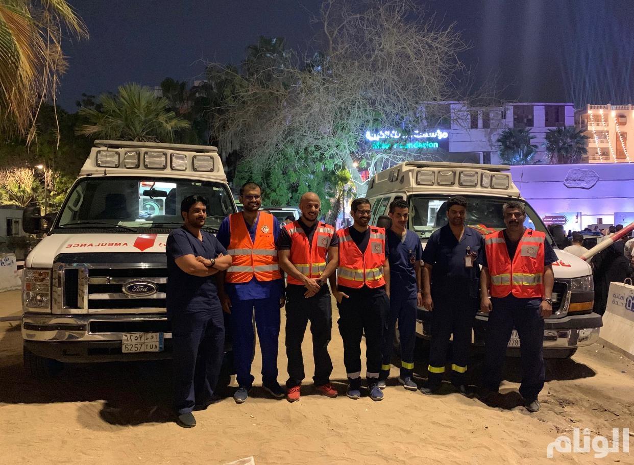 هيئة الهلال الأحمر تشارك في تغطية فعاليات مهرجان مسك جدة التاريخية