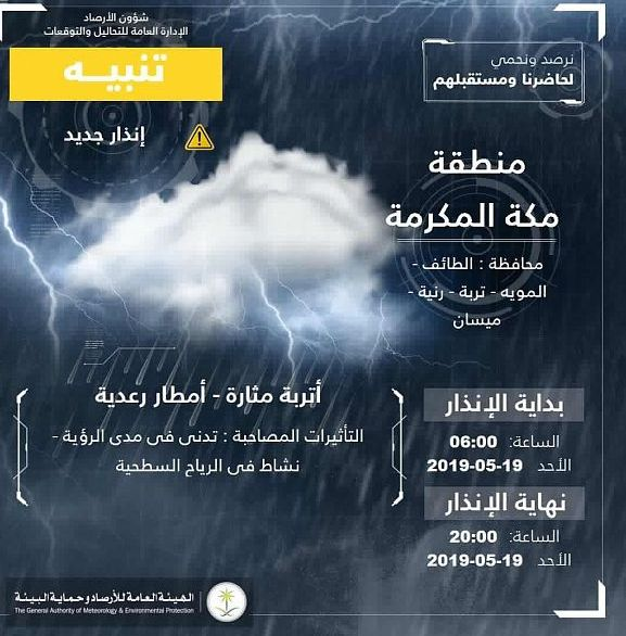 تنبيه عاجل: هطول أمطار على منطقة مكة المكرمة