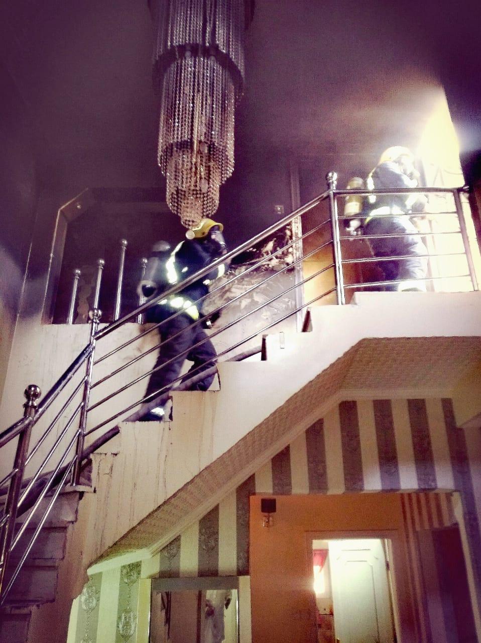 نجاة شخصين واختناق ثالث في حريق ملحق سكني بالمدينة المنورة