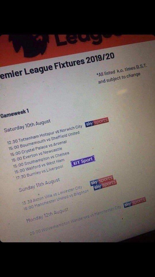 تسريب جدول مباريات الأسبوع الأول من الدوري الإنجليزي للموسم المقبل
