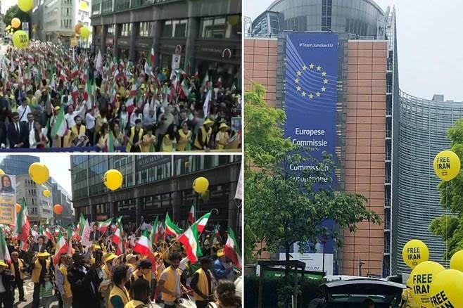 آلاف الإيرانيين في مسيرة ضخمة في بروكسل ضد نظام الملالي