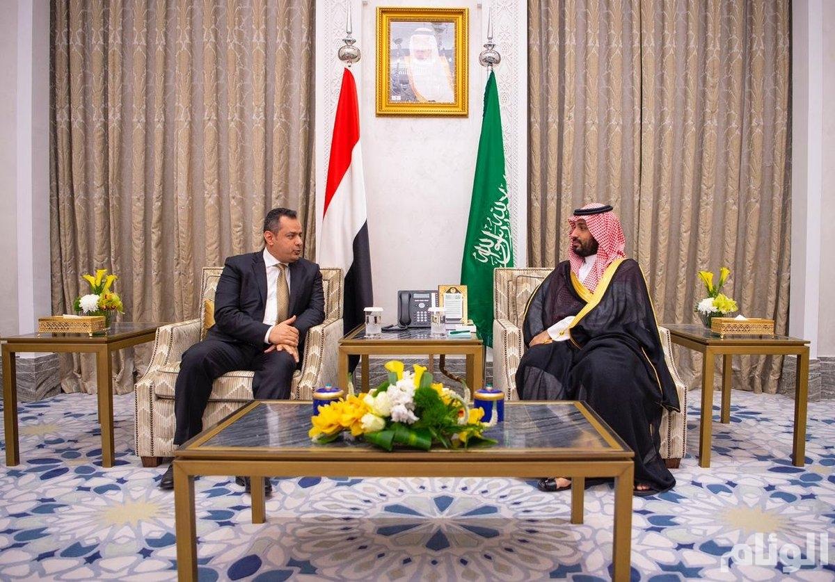 ولي العهد يلتقي رئيس الوزراء اليمني في نيوم