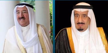 خادم الحرمين يجري اتصالاً هاتفيًا بأمير الكويت للاطمئنان على صحته بعد عارض صحي