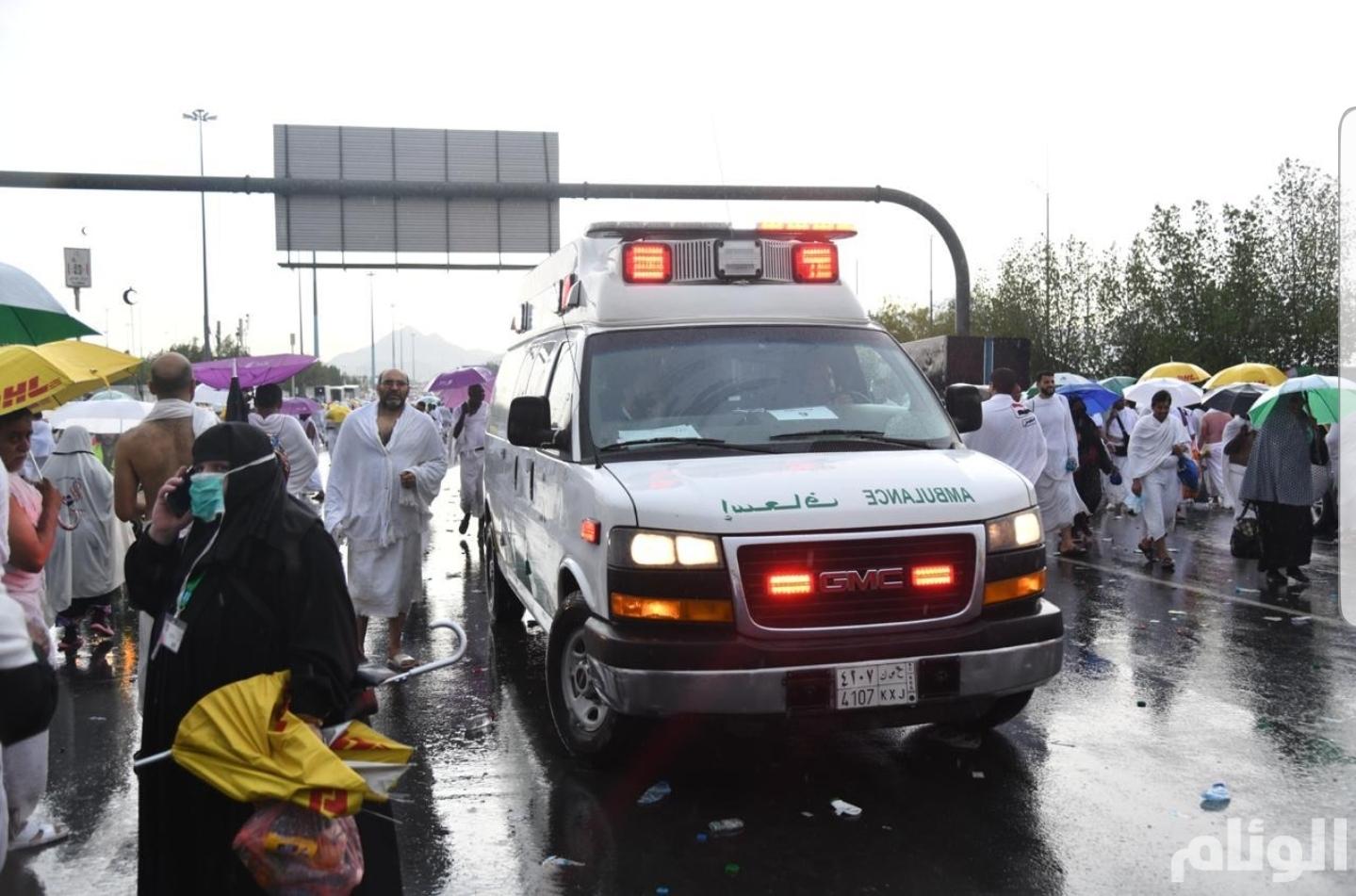 """""""الصحة"""" تطمئن على صحة الحجاج مع هطول الأمطار في مشعر عرفات"""